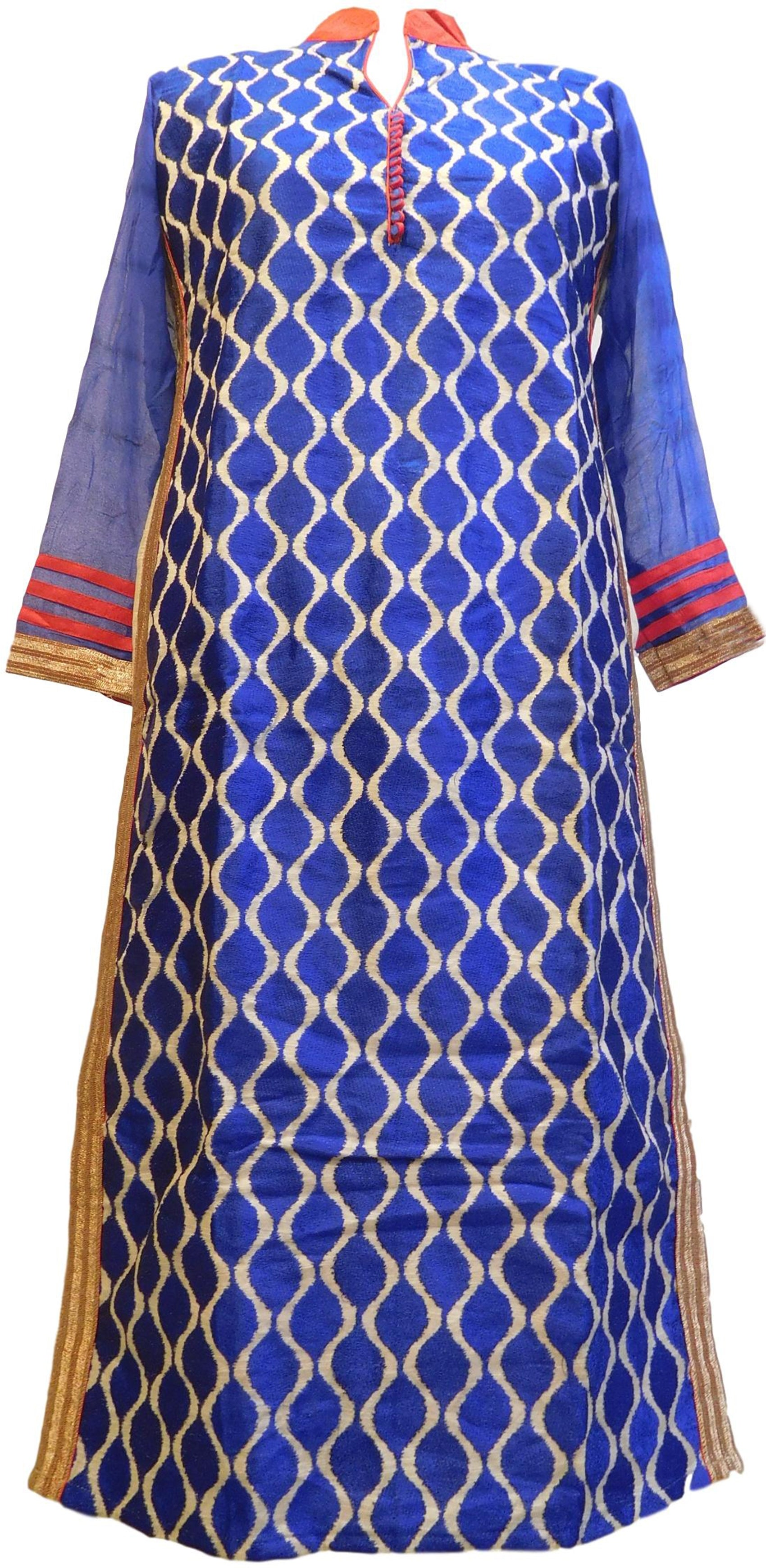 Blue Designer Cotton (Chanderi) Hand Embroidery Zari Thread Work PartyWear Bollywood Style Kurti Kurta