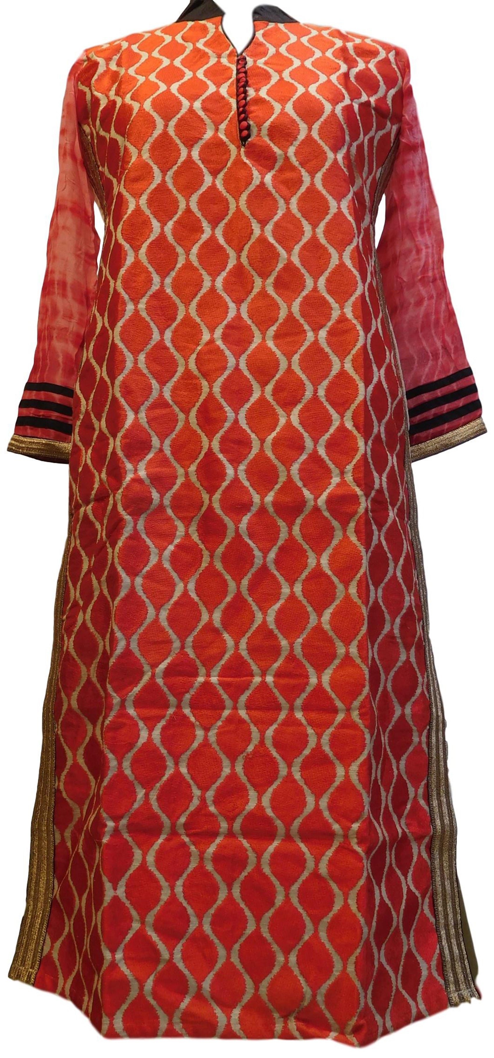 Red Designer Cotton (Chanderi) Hand Embroidery Zari Thread Work PartyWear Bollywood Style Kurti Kurta