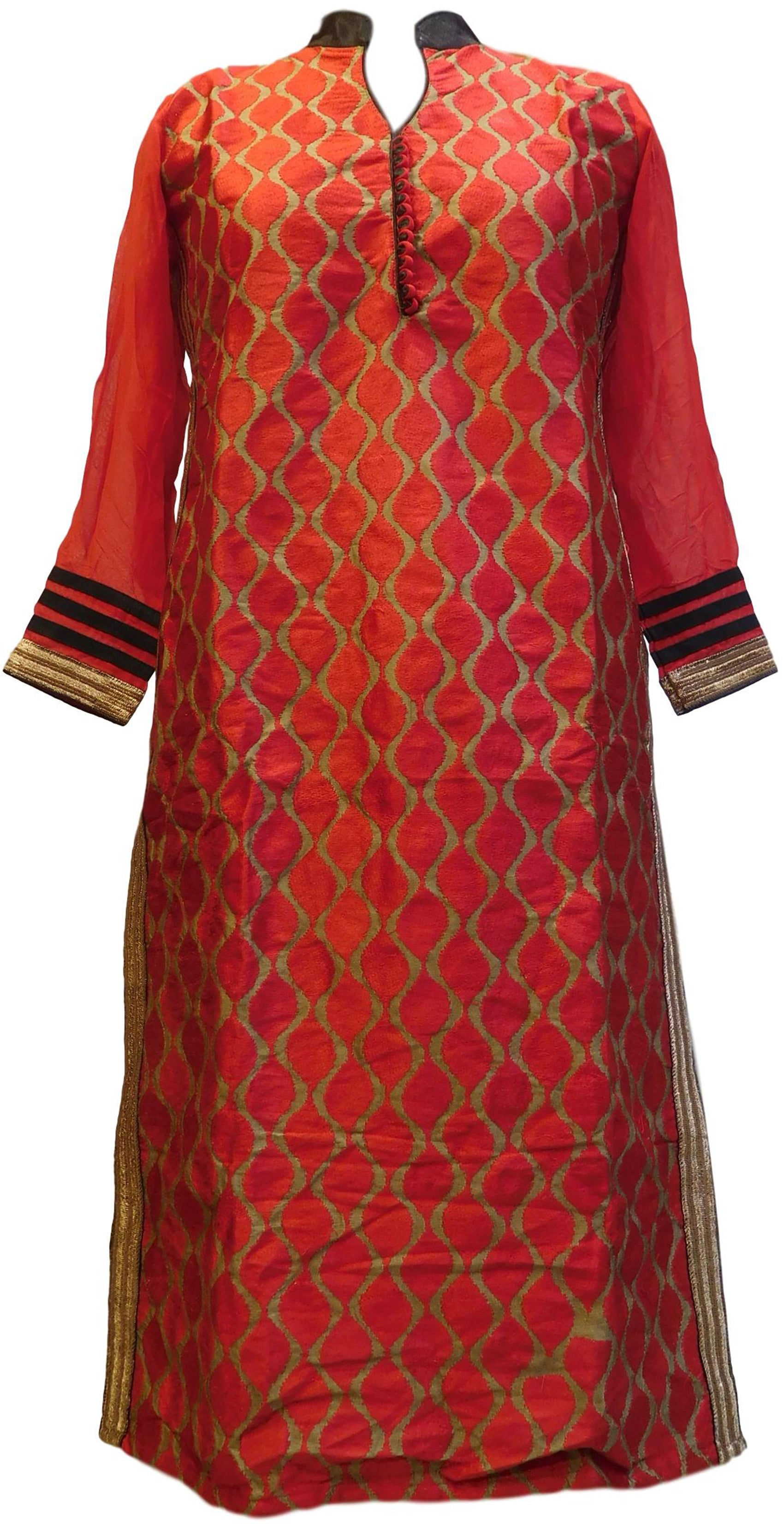 Pink Designer Cotton (Chanderi) Hand Embroidery Zari Thread Work PartyWear Bollywood Style Kurti Kurta