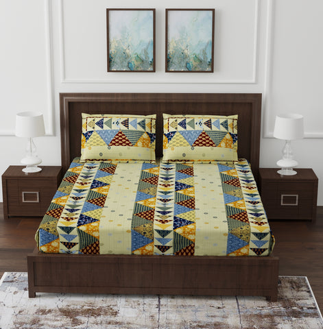 Multicolour Cotton Double Bed Bedsheet
