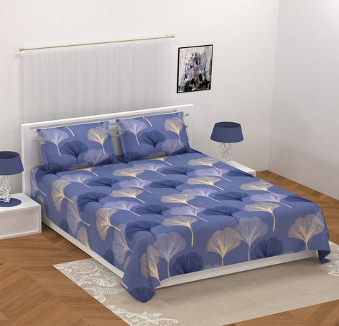 Blue Glace Cotton Double Bed Printed Bedsheet