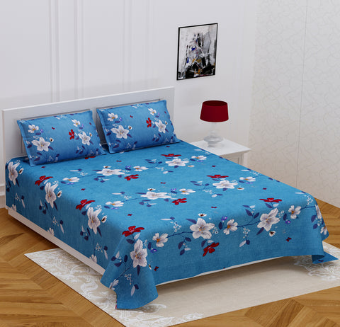Azure Blue Glace Cotton Double Bed Printed Bedsheet