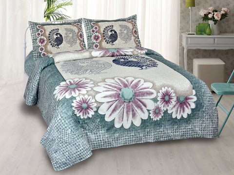 Multicolor Pure Cotton Double Bed Printed Bedsheet