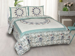 Light Sea Green Pure Cotton Double Bed Printed Bedsheet
