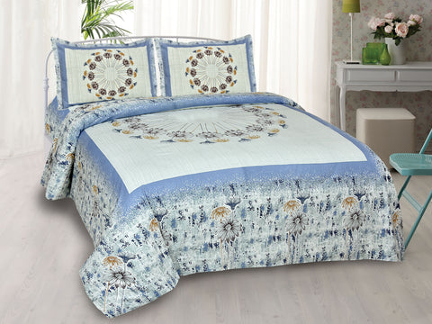 Carolina Blue Pure Cotton Double Bed Printed Bedsheet