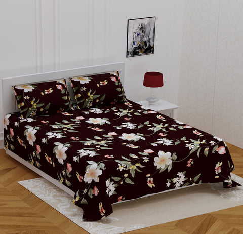 Black Glace Cotton Double Bed Printed Bedsheet