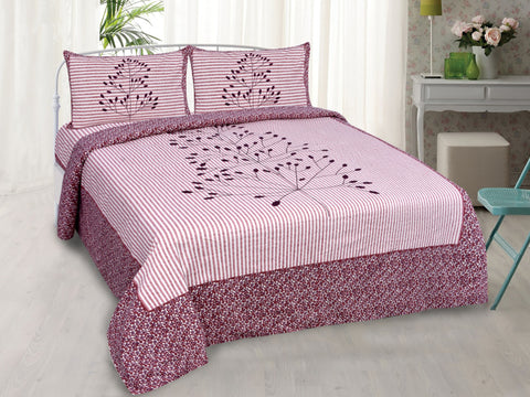 Baby Pink Pure Cotton Double Bed Printed Bedsheet