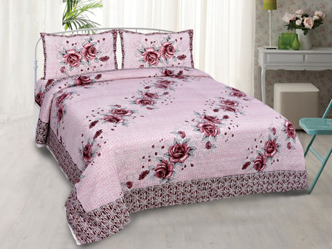 Pink Pure Cotton Double Bed Printed Bedsheet
