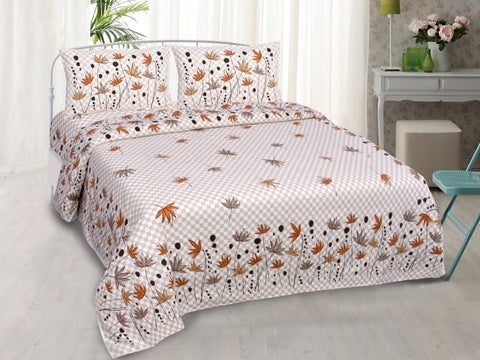 Beige Pure Cotton Double Bed Printed Bedsheet