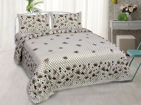 Grey Pure Cotton Double Bed Printed Bedsheet
