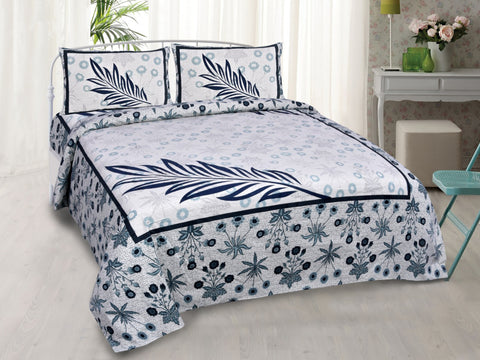 Blue Pure Cotton Double Bed Printed Bedsheet