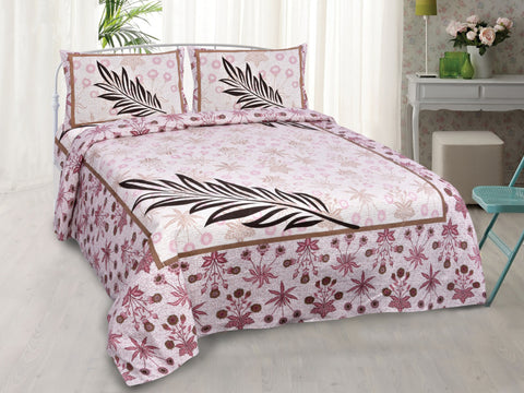 Purple Pure Cotton Double Bed Printed Bedsheet