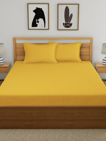 Mustard Pure Cotton Double Bed Bedsheet
