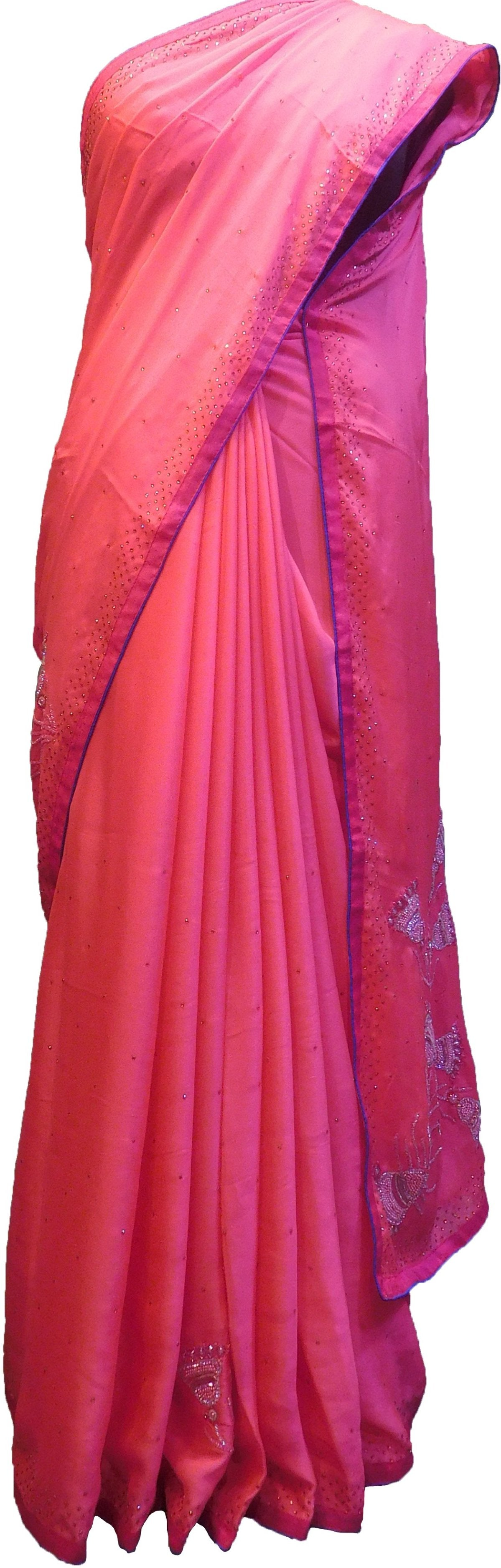 SMSAREE Pink Designer Wedding Partywear Crepe (Rangoli) Stone Beads Cutdana Thread & Bullion Hand Embroidery Work Bridal Saree Sari With Blouse Piece F215