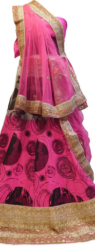 Pink, Black Designer Bridal Hand Embroidery Work Silk Lahenga With Net Dupatta & Silk Blouse