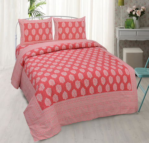 Red Ethnic Jaipuri Cotton Double Bed Printed Bedsheet