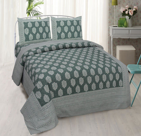 Jungle Green Ethnic Jaipuri Cotton Double Bed Printed Bedsheet