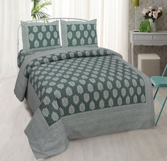 Jungle Green Pure Cotton Double Bed Ethnic Jaipuri Printed Bedsheet