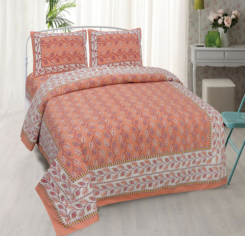 Cantaloupe Orange Ethnic Jaipuri Cotton Double Bed Printed Bedsheet