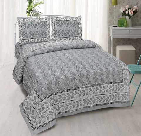 Grey Ethnic Jaipuri Cotton Double Bed Printed Bedsheet