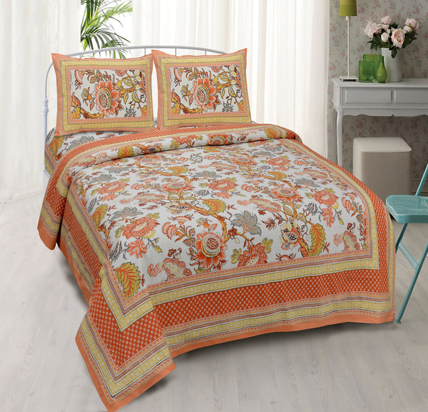 White & Orange Pure Cotton Double Bed Ethnic Jaipuri Printed Bedsheet
