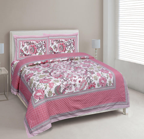 Pink Ethnic Jaipuri Cotton Double Bed Printed Bedsheet