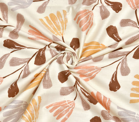 Leafy Brown Premium Cotton Double Bed Bedsheet