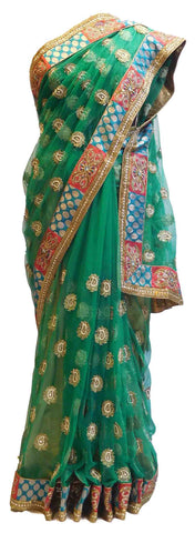 Green Designer Net Saree