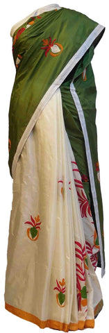 Green & Cream Designer Silk Saree