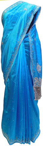 Blue Designer Silk Hand Embroidery Stone Thread Cutdana Work Saree Sari