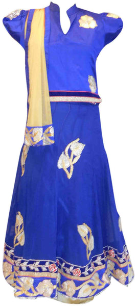 Blue & Yellow Traditional Gota Work Lahenga