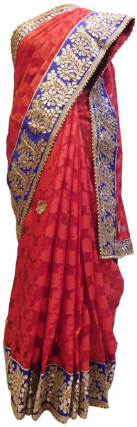 Bollywood Style Red Patola Gota Work Saree With Blue Border & Pearl Lace Sari