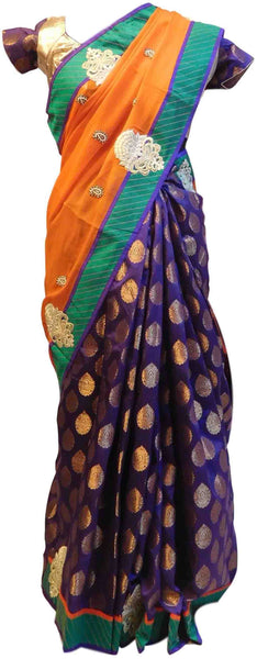 Orange & Purple Designer Georgette (Viscos) & Silk Sari Saree