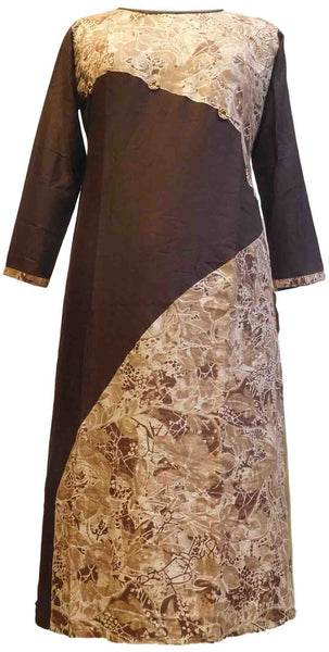 SMSAREE Coffee Brown Designer Casual Partywear Rayon Floral Printed Zari & Stone Hand Embroidery Work Stylish Women Kurti Kurta With Free Matching Leggings D055