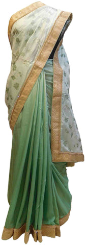 Green Designer Georgette Hand Embroidery Zari Stone Work Saree Sari
