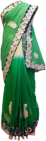 Green & White Designer Georgette (Viscos) & Net Hand Embroidery Zari Stone Thread Work Saree Sari