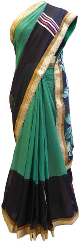 Green & Blue Designer Georgette (Viscos) Thread Embriodery Work Hand Brush Printed Stylish Saree