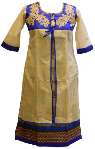 Cream & Blue Designer Cotton (Chanderi) Kurti