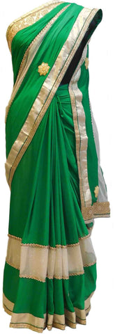 Green & Cream Designer Georgette Saree