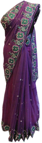 Purple Bridal Designer Bollywood Style Net Saree