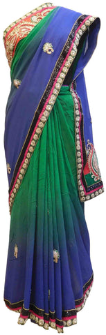 Green & Blue Designer Georgette (Viscos) Hand Embroidery Work Saree Sari