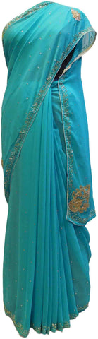 Blue Designer Georgette Hand Embroidery Work Saree Sari