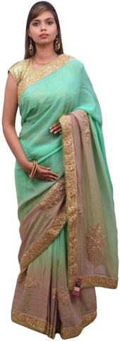 Green Beige Designer Georgette (Viscos) Sari Saree