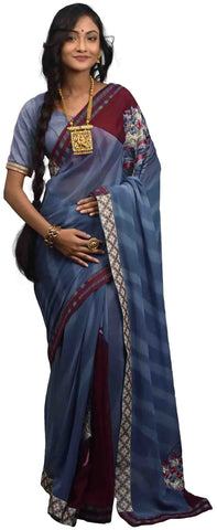 Grey & Wine Pure Georgette Saree