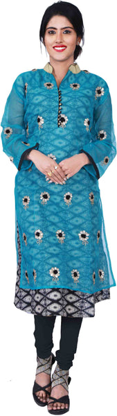 SMSAREE Turquoise & Black Designer Casual Partywear Cotton (Supernet)With Printed Pure Cotton Lining Thread Zari & Gota Hand Embroidery Work Stylish Women Kurti Kurta With Free Matching Leggings B416