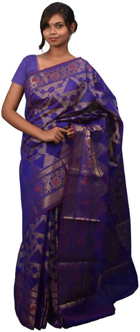 Blue Traditional Designer Wedding Hand Weaven Pure Benarasi Zari Work Saree Sari With Blouse BH13C