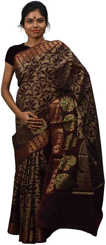 Coffee Brown Traditional Designer Wedding Hand Weaven Pure Benarasi Zari Work Saree Sari With Blouse BH13H