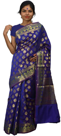 Blue Traditional Designer Wedding Hand Weaven Pure Benarasi Zari Work Saree Sari With Blouse BH4B