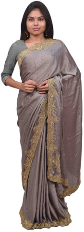 Grey Designer PartyWear Silk Beads Bullion Cutdana Stone Hand Embroidery Work Saree Sari