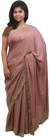 Coffee Brown Designer PartyWear Silk Beads Bullion Cutdana Stone Hand Embroidery Work Saree Sari